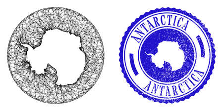 Mesh hole round Antarctica continent map and scratched seal. Antarctica continent map is a hole in a circle stamp. Web mesh vector Antarctica continent map in a circle. Blue round scratched stamp.