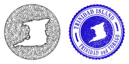 Mesh inverted round Trinidad Island map and scratched seal stamp. Trinidad Island map is a hole in a round seal. Web mesh vector Trinidad Island map in a circle. Blue round scratched watermark.