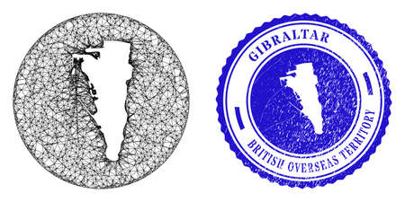 Mesh subtracted round Gibraltar map and grunge seal stamp. Gibraltar map is carved in a round stamp seal. Web mesh vector Gibraltar map in a circle. Blue round textured seal stamp.