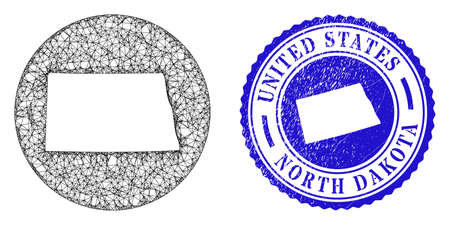 Mesh stencil round North Dakota State map and scratched seal. North Dakota State map is a hole in a circle seal. Web network vector North Dakota State map in a circle. Blue rounded scratched seal.
