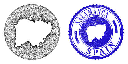 Mesh stencil round Salamanca Province map and scratched seal stamp. Salamanca Province map is a hole in a circle seal. Web mesh vector Salamanca Province map in a circle. Blue rounded textured stamp.