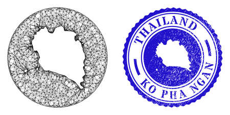 Mesh hole round Ko Pha Ngan map and grunge seal stamp. Ko Pha Ngan map is stencil in a circle stamp seal. Web network vector Ko Pha Ngan map in a circle. Blue round distress seal stamp.
