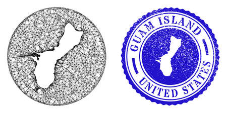 Mesh hole round Guam Island map and scratched seal stamp. Guam Island map is carved in a round stamp seal. Web net vector Guam Island map in a circle. Blue round textured seal stamp.