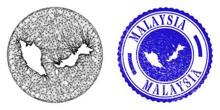 Mesh hole round Malaysia map and scratched seal stamp. Malaysia map is a hole in a round stamp seal. Web carcass vector Malaysia map in a circle. Blue rounded grunge stamp.