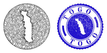 Mesh hole round Togo map and grunge seal stamp. Togo map is a hole in a circle stamp seal. Web mesh vector Togo map in a circle. Blue rounded scratched seal stamp.