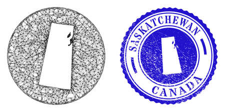Mesh hole round Saskatchewan Province map and grunge seal stamp. Saskatchewan Province map is a hole in a circle seal. Web carcass vector Saskatchewan Province map in a circle.