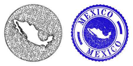 Mesh subtracted round Mexico map and grunge seal stamp. Mexico map is a hole in a circle stamp. Web mesh vector Mexico map in a circle. Blue round grunge stamp.
