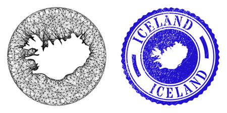 Mesh hole round Iceland map and scratched stamp. Iceland map is subtracted from a round stamp seal. Web mesh vector Iceland map in a circle. Blue rounded distress seal stamp.