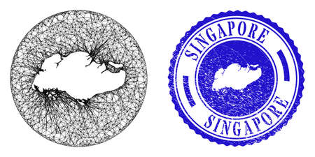 Mesh inverted round Singapore map and grunge seal. Singapore map is a hole in a circle seal. Web network vector Singapore map in a circle. Blue round grunge seal.