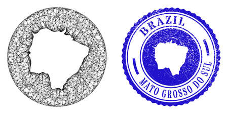 Mesh hole round Mato Grosso do Sul State map and grunge seal stamp. Mato Grosso do Sul State map is inverted in a round seal. Web mesh vector Mato Grosso do Sul State map in a circle.