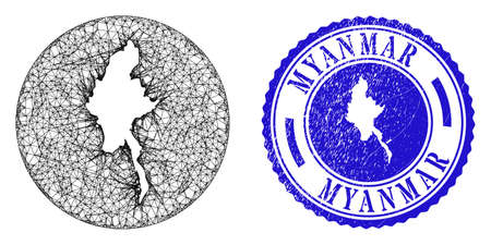 Mesh inverted round Myanmar map and grunge seal stamp. Myanmar map is carved in a round seal. Web mesh vector Myanmar map in a circle. Blue round grunge seal.