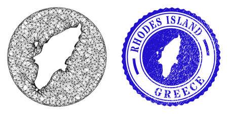 Mesh stencil round Rhodes Island map and scratched seal stamp. Rhodes Island map is stencil in a round stamp seal. Web carcass vector Rhodes Island map in a circle. Blue round textured seal stamp. Иллюстрация