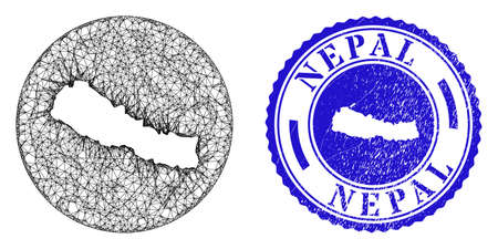 Mesh stencil round Nepal map and grunge seal. Nepal map is stencil in a circle stamp seal. Web net vector Nepal map in a circle. Blue round grunge stamp.