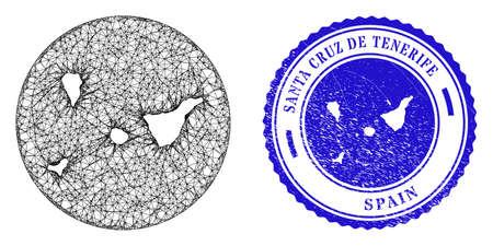 Mesh subtracted round Santa Cruz de Tenerife Province map and grunge seal stamp. Santa Cruz de Tenerife Province map is stencil in a round stamp. Vettoriali