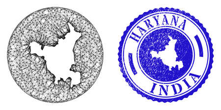 Mesh subtracted round Haryana State map and scratched seal stamp. Haryana State map is inverted in a round stamp seal. Web mesh vector Haryana State map in a circle. Blue round scratched seal.