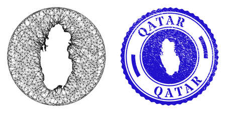 Mesh subtracted round Qatar map and scratched seal stamp. Qatar map is a hole in a round stamp seal. Web carcass vector Qatar map in a circle. Blue round textured stamp.