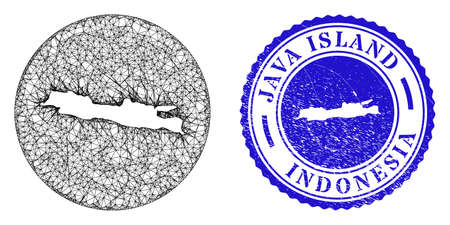 Mesh inverted round Java Island map and scratched seal stamp. Java Island map is a hole in a circle stamp. Web carcass vector Java Island map in a circle. Blue round scratched stamp.