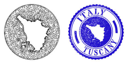 Mesh subtracted round Tuscany region map and grunge seal stamp. Tuscany region map is a hole in a circle stamp. Web net vector Tuscany region map in a circle. Blue rounded grunge seal stamp. Illusztráció