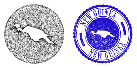 Mesh inverted round New Guinea map and scratched seal stamp. New Guinea map is inverted in a circle stamp seal. Web network vector New Guinea map in a circle. Blue round scratched watermark. Vector Illustration