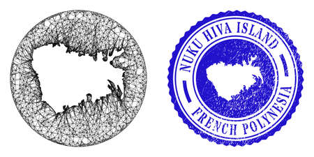 Mesh hole round Nuku Hiva Island map and grunge seal stamp. Nuku Hiva Island map is stencil in a circle stamp seal. Web carcass vector Nuku Hiva Island map in a circle. Blue rounded grunge seal.