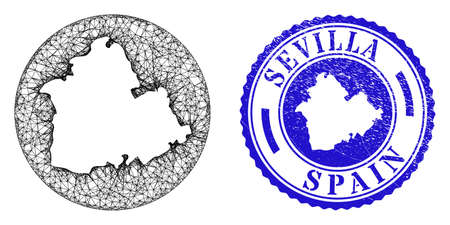 Mesh inverted round Sevilla Province map and scratched seal stamp. Sevilla Province map is inverted in a round stamp seal. Web network vector Sevilla Province map in a circle.