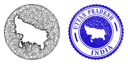 Mesh stencil round Uttar Pradesh State map and grunge seal stamp. Uttar Pradesh State map is inverted in a round stamp seal. Web mesh vector Uttar Pradesh State map in a circle.