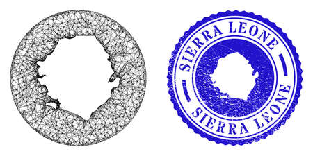 Mesh hole round Sierra Leone map and scratched seal stamp. Sierra Leone map is stencil in a circle seal. Web network vector Sierra Leone map in a circle. Blue round scratched seal stamp.