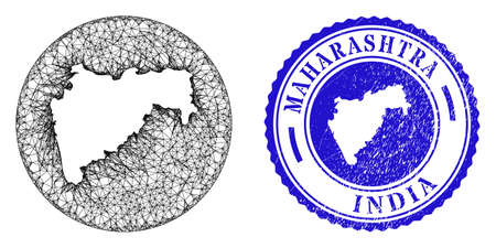Mesh subtracted round Maharashtra State map and scratched stamp. Maharashtra State map is subtracted from a circle stamp. Web mesh vector Maharashtra State map in a circle. Blue round distress stamp.