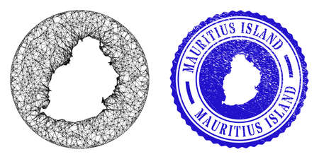 Mesh stencil round Mauritius Island map and scratched seal stamp. Mauritius Island map is carved in a round seal. Web mesh vector Mauritius Island map in a circle. Blue round scratched seal.