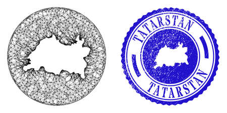 Mesh hole round Tatarstan map and grunge seal. Tatarstan map is stencil in a round seal. Web mesh vector Tatarstan map in a circle. Blue round grunge seal.