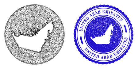 Mesh inverted round United Arab Emirates map and scratched seal stamp. United Arab Emirates map is a hole in a round stamp. Web net vector United Arab Emirates map in a circle.
