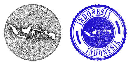 Mesh subtracted round Indonesia map and scratched stamp. Indonesia map is a hole in a circle seal. Web mesh vector Indonesia map in a circle. Blue round scratched stamp. Ilustração