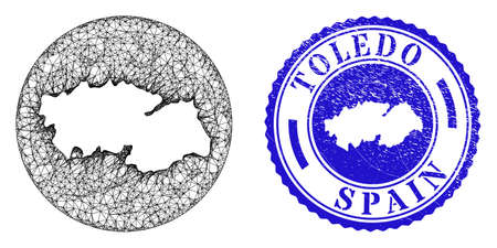 Mesh hole round Toledo Province map and grunge seal stamp. Toledo Province map is a hole in a round seal. Web net vector Toledo Province map in a circle. Blue round scratched seal stamp.