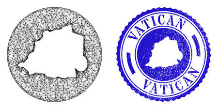 Mesh inverted round Vatican map and scratched stamp. Vatican map is a hole in a circle stamp seal. Web mesh vector Vatican map in a circle. Blue round distress watermark. Illusztráció
