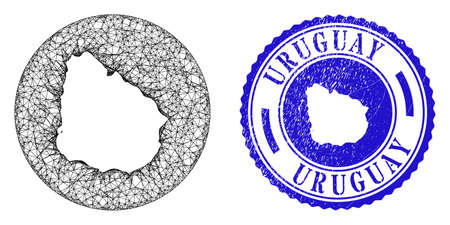 Mesh stencil round Uruguay map and scratched stamp. Uruguay map is stencil in a round stamp seal. Web mesh vector Uruguay map in a circle. Blue round textured seal stamp.