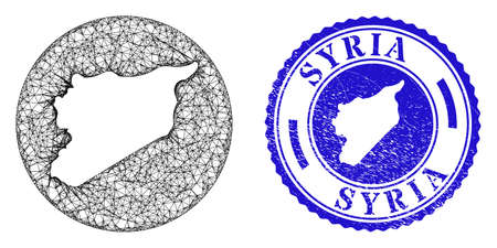 Mesh hole round Syria map and grunge seal stamp. Syria map is a hole in a round stamp. Web net vector Syria map in a circle. Blue rounded scratched seal.