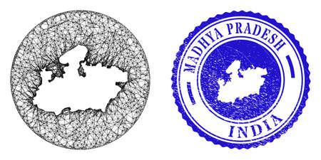 Mesh stencil round Madhya Pradesh State map and scratched seal. Madhya Pradesh State map is stencil in a circle seal. Web network vector Madhya Pradesh State map in a circle. Blue round grunge seal. Illustration