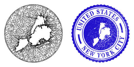 Mesh subtracted round New York City map and grunge seal stamp. New York City map is a hole in a round stamp seal. Web network vector New York City map in a circle. Blue round textured seal. Archivio Fotografico - 150257773