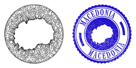 Mesh hole round Macedonia map and grunge seal stamp. Macedonia map is carved in a circle seal. Web mesh vector Macedonia map in a circle. Blue round grunge seal.