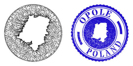 Mesh stencil round Opole Voivodeship map and grunge seal. Opole Voivodeship map is carved in a circle stamp. Web mesh vector Opole Voivodeship map in a circle. Blue rounded grunge seal stamp.