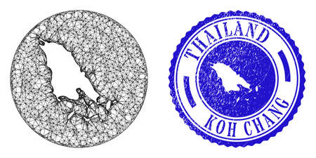 Mesh hole round Koh Chang map and scratched stamp. Koh Chang map is a hole in a circle seal. Web mesh vector Koh Chang map in a circle. Blue round grunge seal stamp.