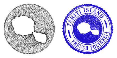 Mesh inverted round Tahiti Island map and scratched stamp. Tahiti Island map is a hole in a round stamp. Web net vector Tahiti Island map in a circle. Blue round scratched watermark.
