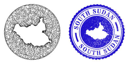 Mesh subtracted round South Sudan map and grunge seal. South Sudan map is a hole in a round stamp seal. Web network vector South Sudan map in a circle. Blue round distress seal stamp. Ilustração