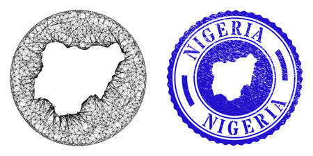 Mesh subtracted round Nigeria map and grunge stamp. Nigeria map is a hole in a circle stamp. Web mesh vector Nigeria map in a circle. Blue round grunge watermark.