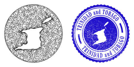 Mesh stencil round Trinidad and Tobago map and grunge stamp. Trinidad and Tobago map is stencil in a round stamp. Web carcass vector Trinidad and Tobago map in a circle. Blue round grunge stamp.