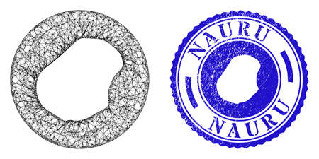 Mesh subtracted round Nauru map and scratched seal stamp. Nauru map is cut out from a circle stamp seal. Web mesh vector Nauru map in a circle. Blue rounded scratched seal stamp.