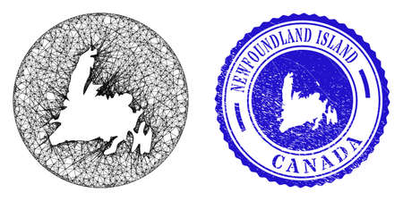 Mesh hole round Newfoundland Island map and scratched seal stamp. Newfoundland Island map is a hole in a circle stamp seal. Web net vector Newfoundland Island map in a circle.