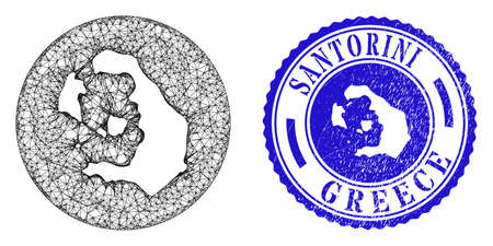Mesh stencil round Santorini Island map and grunge seal. Santorini Island map is inverted in a circle stamp seal. Web network vector Santorini Island map in a circle. Blue round grunge stamp.