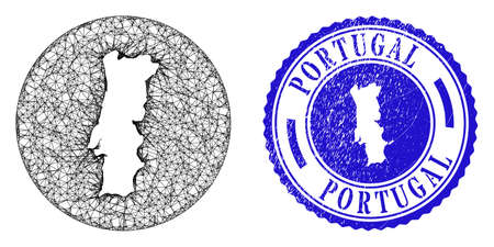 Mesh subtracted round Portugal map and scratched seal. Portugal map is carved in a circle stamp seal. Web carcass vector Portugal map in a circle. Blue round distress seal stamp.