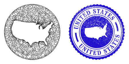Mesh inverted round United States map and scratched stamp. United States map is inverted in a round stamp. Web mesh vector United States map in a circle. Blue round textured seal stamp.